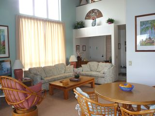 Princeville condo photo - Lovely Living and Dining Areas with Ceiling Fan and terrific Ocean View