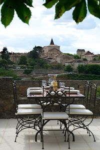 enjoy views of tranquil Monpazier from the west terrace