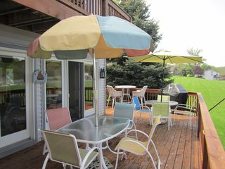 Deck with Balcony above - Saugatuck / Douglas townhome vacation rental photo