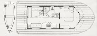 Georgetown house boat photo - Cabin and deck layout. Note convertable settee. Sleeps 5.