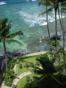view from lanai of the oceanfront lounge area - Oahu Ocean Front Condo