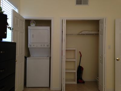 LARGE closet and stackable Washer/Dryer in the bedroom for your convenience!