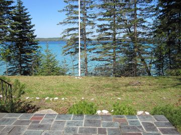 Flagstone patio overlooking the lake - breathtaking sunset views!