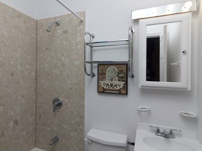 Upper East Side apartment rental - Marble Tile Bathroom with New Vanity