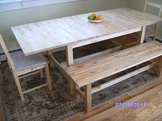 Winter Harbor house photo - Dining room table and benches (seats 8)