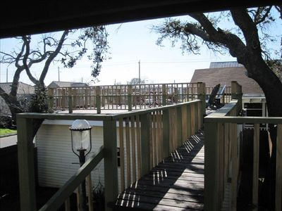 Bridge to the large above garage deck