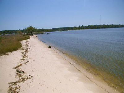 great sandy  beach. bay is great for flounder fishing too!