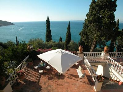 Orbetello villa rental - View of the terrace and Monte Argentario