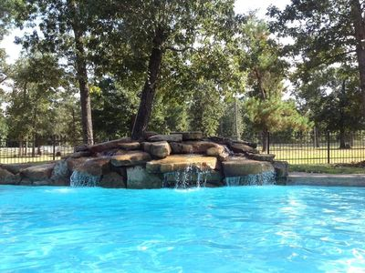 Welcome To Your Beautiful Home With Pool, Waterfall + Creek On 10 Private Acres
