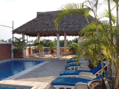 new palapa with cooling fans and lights.