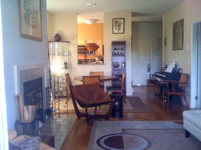 Home Away From Home: fireplace, piano expandable dining table