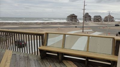 Ocean views from front top deck. Glass bench back for unobstructed ocean views.