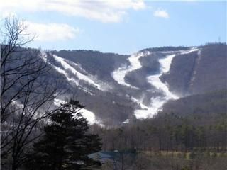 View of the ski slopes from the great room during ski season