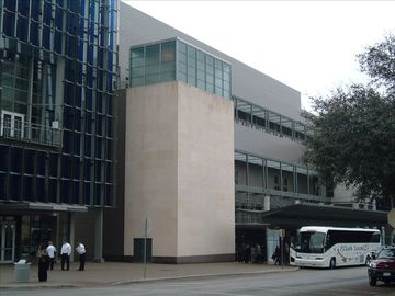 View of Austin Convention Center taken from corner entrance of the building