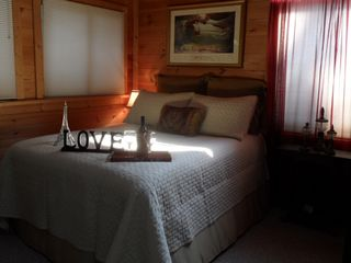 Lake Allatoona studio photo - Queen Bed with Shades Drawn in Late Afternoon