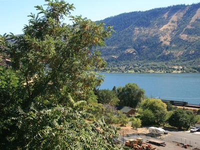 Sweeping view of the Columbia River from the beautiful bluff home.