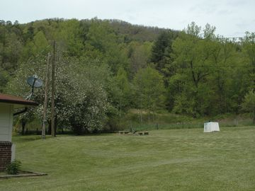 The backyard with the mountain in the background and the Burnpit and benches