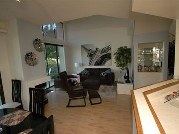 The open, modern living room has vaulted ceilings, a wet bar and gas fireplace.