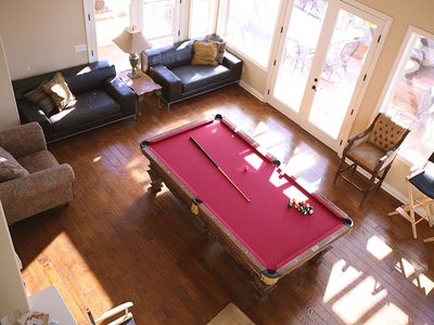 Pool table, satelite tv, pinball machine and video games