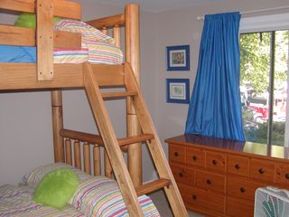 Grand Haven house photo - Lower level bedroom with twin over queen bunk bed