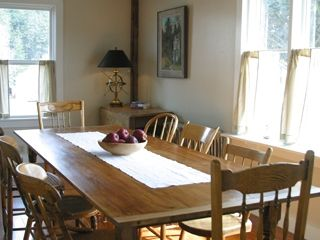 Port Clyde cottage photo - Farmhouse Table has views of Harbor and Village and seats 8 comfortably.