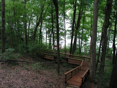 A Quaint Boardwalk through the Woods Takes You From the Chalet to the Lake!