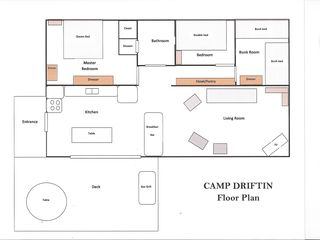 Floor Plan of Interior Camp - South Hero cottage vacation rental photo