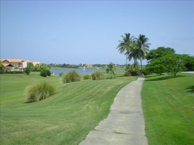 Grounds of Palmas del Mar, 2 golf courses, miles of paths for walks and cycling