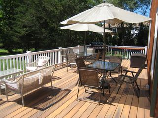 Hampton Bays house photo - Fully equipped deck; grill, serving table, seating for several guests