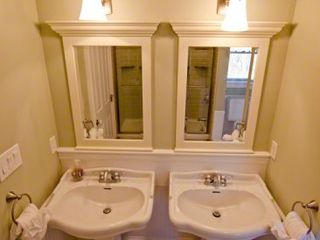 Vineyard Haven house photo - Jack & Jill Bath Shared Between Bedrooms 3 & 4 Has Double Pedestal Sinks & Tub/Shower