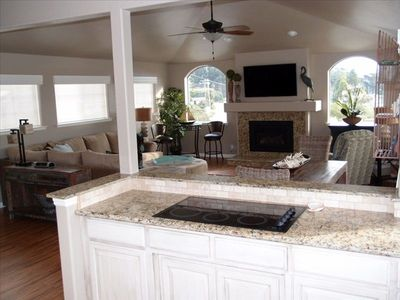 The kitchen, dining area and living room create an great open space.