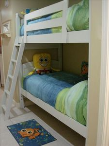 The kids will love the bunk room with top of the line 'Jamieson' mattresses