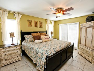 2nd floor king master bedroom with full private bath and balcony with Gulf views