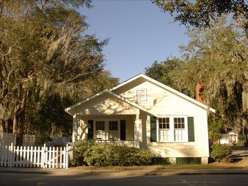 Beaufort house rental - Our Bungalow! The yard is totally fenced, and an antique brick patio is to left.
