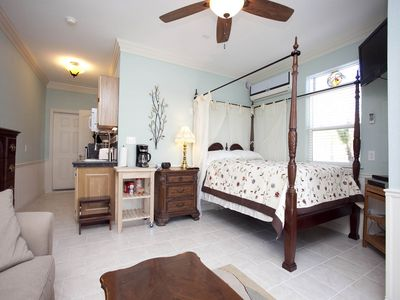 Port Aransas house rental - The studio apartment with a queen sized bed and queen sleeper sofa.