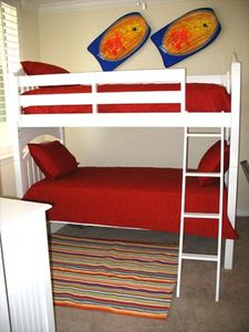 Perfect for the kids! Our colorful 3rd room with a full bed on bottom and TV/DVD