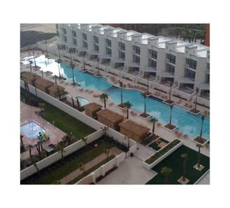 View of the swimming pool from the 13th floor balcony