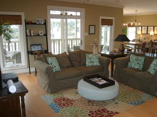 Dauphin Island house photo - Main floor living area with screen porch (computer not included)