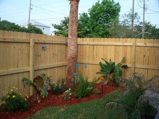 Crystal Beach house photo - Lushly Landscaped Fenced Backyard