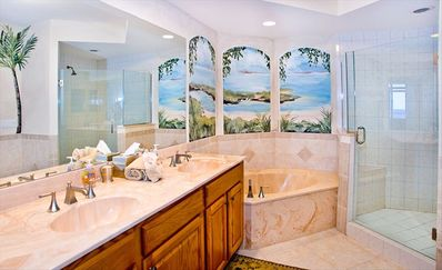 Master Bath with dual sinks, glass-enclosed stall shower, garden tub.