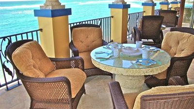 We start each morning with the turquoise waves & sugar birds on the veranda