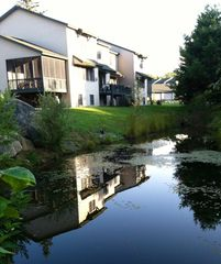 Lake Placid townhome photo - Rear of townhouse overlooking small pond