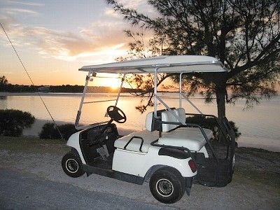 Rent the optional golf cart for exploring Spanish Wells and Russell Island.