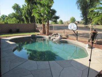 Queen Creek bungalow rental - Relaxing pool and view of the golf course