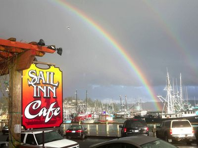 Rainbow and view from Sail Inn Cafe