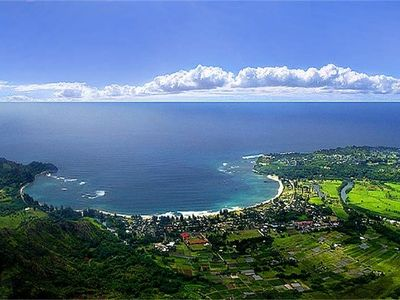 Helicopter view of beautiful Hanalei and the Crescent Beach.