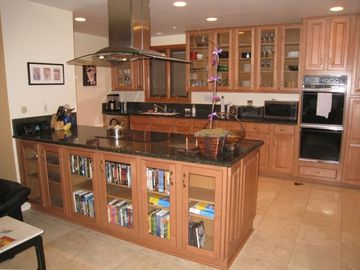 Remodeled kitchen has everything you need for dinner at home.
