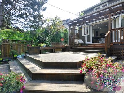 The deck on a sunnier day! The BBQ is on the right in the covered area.