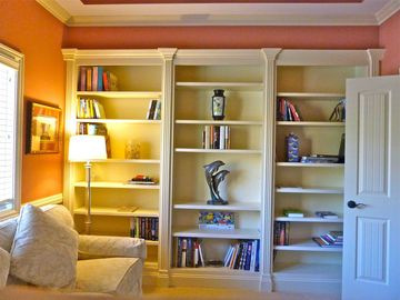 Fireplace, tranquility...and books from around the world