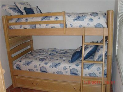 Two Bunks and a Trundle bed sleeps 3 comfortably